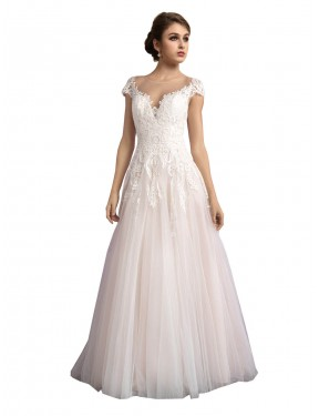 Discount A-Line Illusion Ivory & Champagne Tulle Long Mariana Wedding Dress Alberta