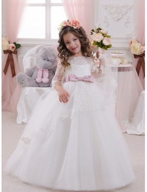 Discount Ball Gown Bateau Ivory Lace & Tulle Long Flower Girl Dress Alberta