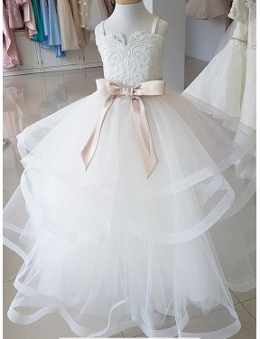 Discount Ball Gown High Neck Ivory Lace & Tulle Long Flower Girl Dress Alberta