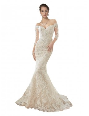 Discount Mermaid Off the Shoulder Ivory & Champagne Lace & Tulle Long Blake Wedding Dress Alberta